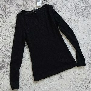 Black lace long-sleeved top